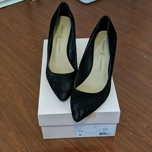 Black pumps in a size 7.5